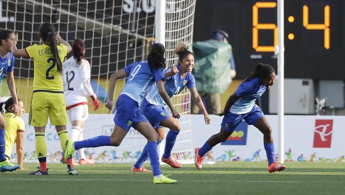 Formiga Brasil x Colômbia Pan futebol feminino (Foto: AP)