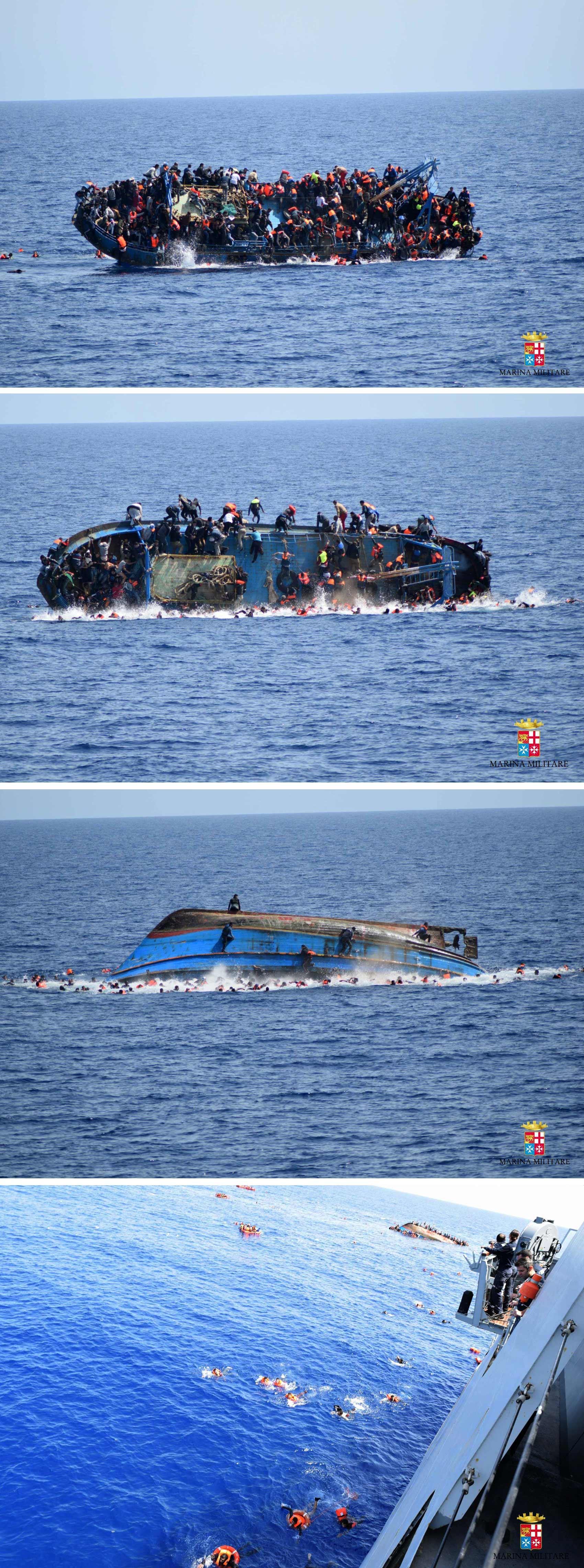 Sequência de fotos da Marinha italiana mostram barco lotado de migrantes virando logo antes do resgate na costa da Líbia; 500 pessoas foram resgatadas e ao menos 7 morreram (Foto: Marinha Italiana/AFP)