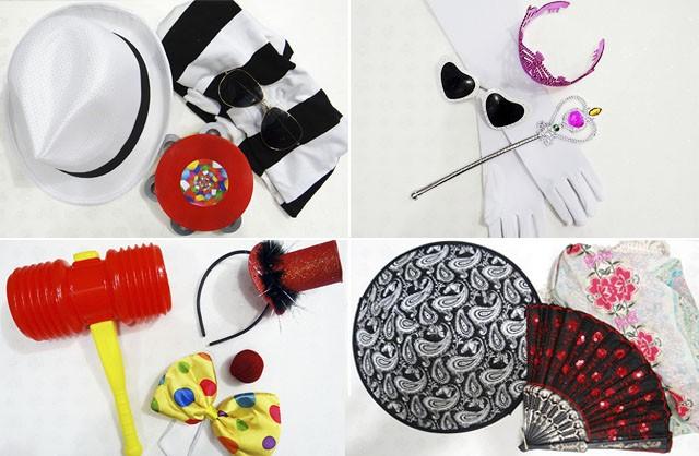 Detalhes das Fantasias improvisadas com acessórios de lojas populares (Foto: Fernanda Maciel)