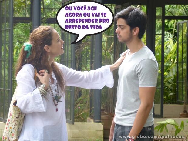 ... e já começa a dar conselhos pro Bruno! (Foto: Malhação/ TV Globo)