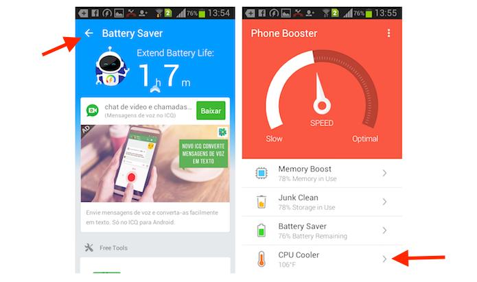 Acessando o recurso CPU Cooler do Super Booster Clean Boost para Android (Foto: Reprodução/Marvin Costa)