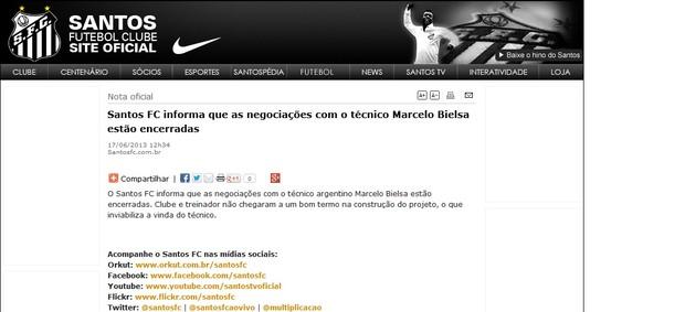 Santos Marcelo Bielsa desistência site oficial (Foto: Reprodução / Site Oficial do Santos)