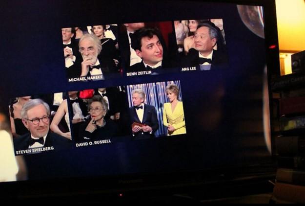 Reprodução do momento em que a atriz Emmanuelle Riva aparece no lugar de diretor (Foto: Reprodução)