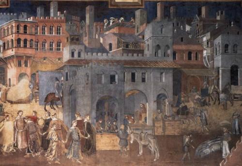 Foto (Foto: Detalhe do afresco 'Efeitos do bom governo sobre a cidade', de Ambrogio Lorenzetti, pintado entre 1337 e 1339 / Reprodução)