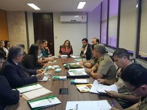 Representantes das forças de segurança se reúnem com TRE para traçar ações de segurança durante as eleições (Foto: Divulgação/TRE)