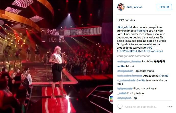 Anitta faz um comentário em um dos perfis da rede social da Nikki (Foto: Reprodução)