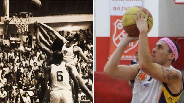 Gerações vitoriosas do basquete de São José dos Campos. À esquerda, equipe do Tênis Clube em ação. À direita, Fúlvio em partida do Campeonato Paulista (Foto: Montagem/Globoesporte.com)