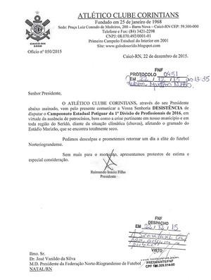 Carta de desistência do Corintians-RN (Foto: Reprodução)