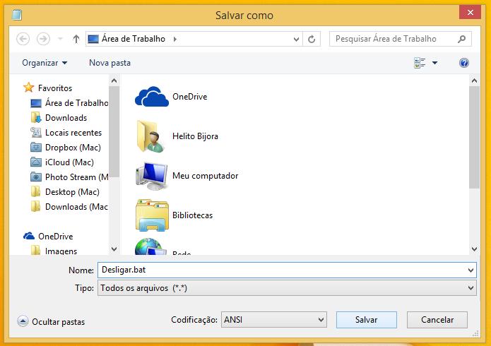 Salve o arquivo com a extensão .bat (Foto: Reprodução/Helito Bijora)