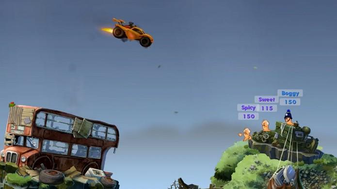 Em Worms W.M.D. você poderá arremessar um carro de Rocket League em seus inimigos e muito mais (Foto: Reprodução/YouTube)