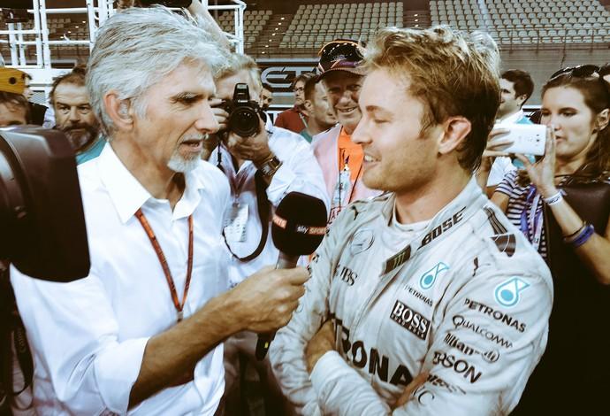 Damon Hill entrevista Nico Rosberg em Abu Dhabi Fórmula 1 2016 (Foto: Reprodução)