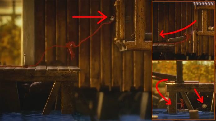 Use este pedaço de madeira como uma jangada em Unravel para obter um botão escondido (Foto: Reprodução/Rafael Monteiro)
