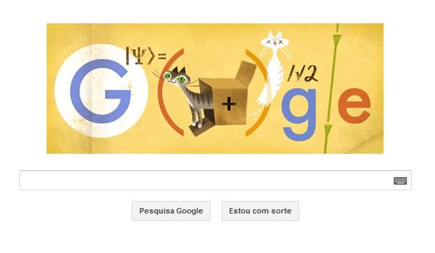 Doodle homenageia 126º aniversário de Erwin Schrödinger (Foto: Reprodução/Google)