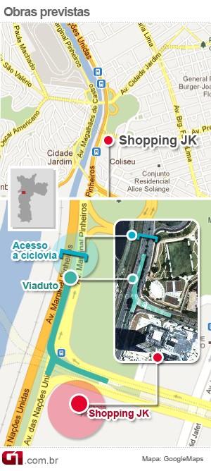 Localização Shopping JK (Foto: Arte/G1)
