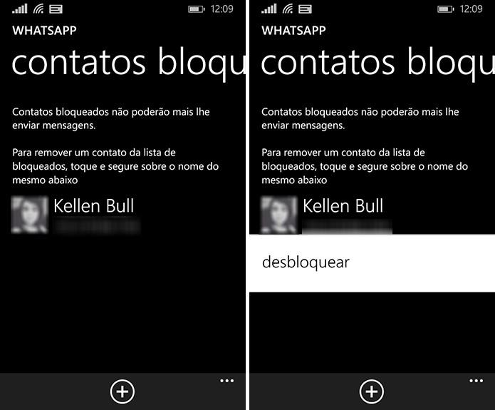 Contatos incômodos na lista de bloqueados no WhatsApp para Windows Phone, mas é possível desfazer a operação (Foto: Reprodução/Elson de Souza)