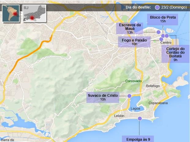 Mapa de blocos de carnaval domingo (23) no Rio (Foto: Editoria de Arte/G1)