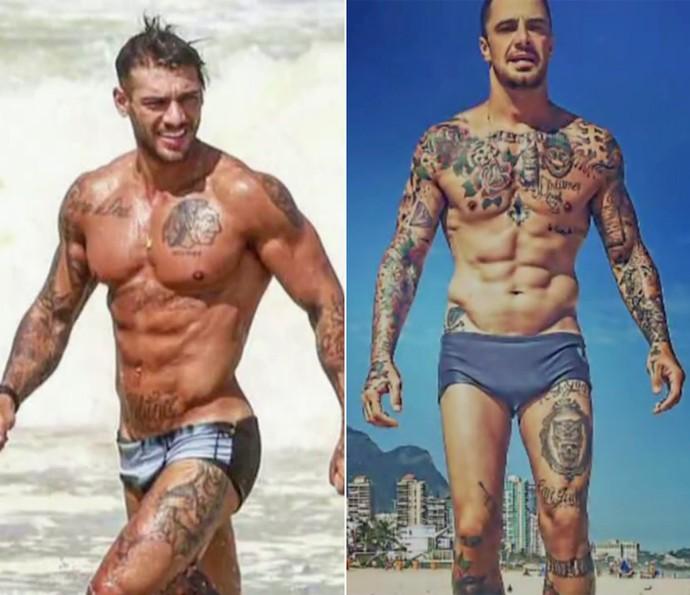 Lucas Lucco e Felipe Titto exibem 'tanquinhos' na praia (Foto: Vídeo Show / TV Globo)