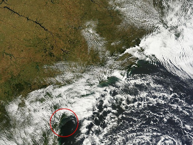 Fumaça aparece na parte destacada da imagem de satélite  (Foto: Aeronet/Divulgação)