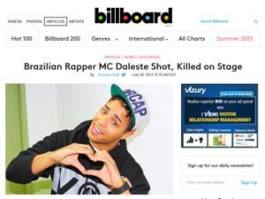 Site da revista 'Billboard', dos EUA, mostra notícia sobre a morte de Daleste (Foto: Reprodução/Site Billboard.com)