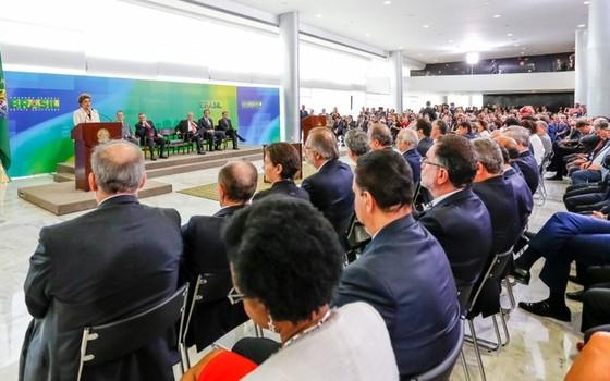 A presidente Dilma Rousseff discursa na posse de Luiz Inácio Lula da Silva como ministro-chefe da Casa Civil (Foto: Ichiro Guerra/PR)