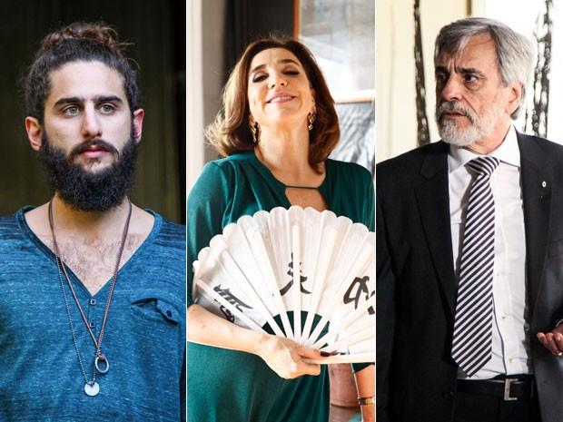 Júnior, Silvia e Oto estão longe de formar a família perfeita (Foto: Camila Camacho/ Inácio Moraes/ TV Globo)