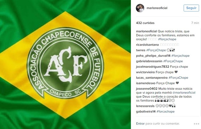 Chapecoense Marlone (Foto: Reprodução/Instagram)