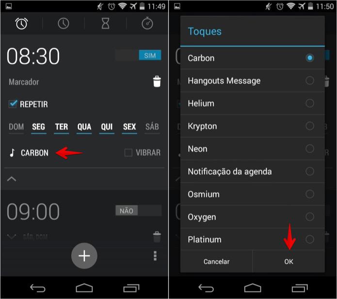 Alterando o toque do alarme no Android (Foto: Reprodução/Helito Bijora)