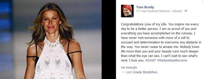 Tom Brady homenagem Gisele Facebook (Foto: Reprodução / Facebook)