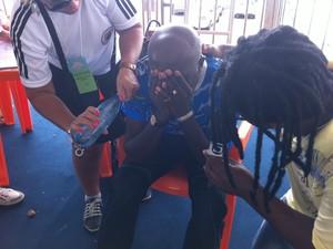 Presidente da escola Bambas da Orgia se emociona com o resultado (Foto: Jessica Mello/G1)