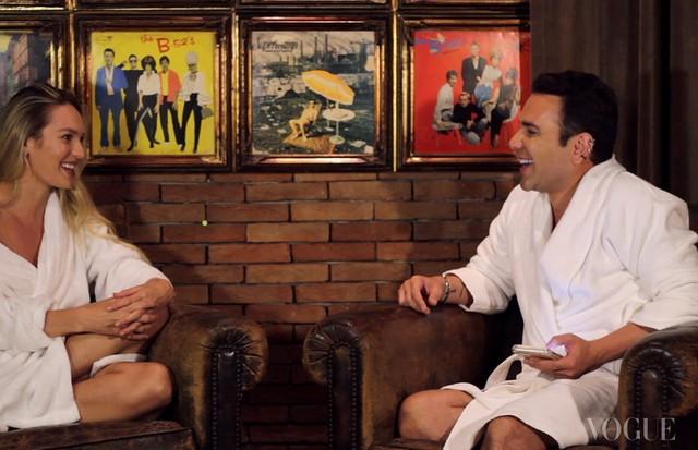 Candice Swanepoel em sua primeira entrevista em português para Matheus Mazzafera (Foto: Divulgação)