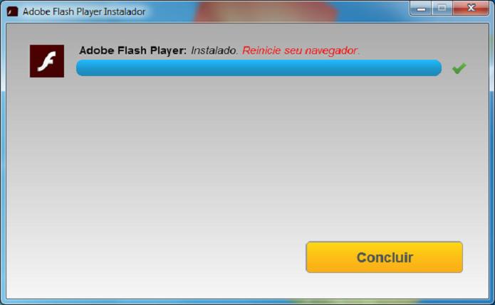 Atualização do Adobe Flash Player concluída (Foto: Felipe Alencar/TechTudo)