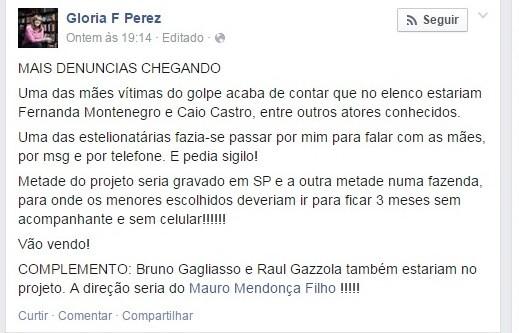 Glória Perez faz denúncia em rede social (Foto: Reproduçção/Facebook)