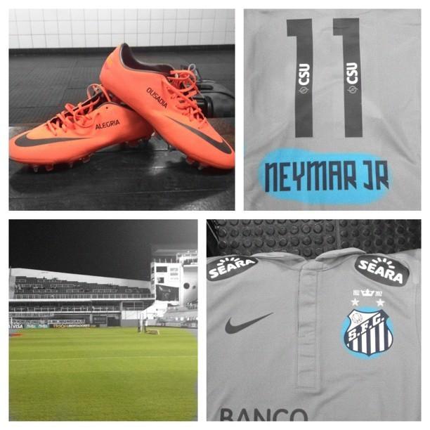 Neymar kit antes do jogo Santos x The Strongest (Foto: Reprodução / Twitter)