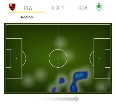 mapa de calor, Rodnei, Flamengo (Foto: Reprodução)