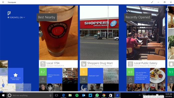 Foursquare está disponível para Windows 10 embora ainda continue com aparência da versão 8.1 (Foto: Reprodução/Elson de Souza)