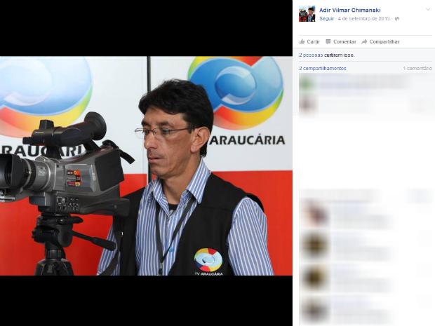 Adir Vilmar Chimanski morreu baleando em frente de casa, segundo a polícia (Foto: Reprodução/Facebook)