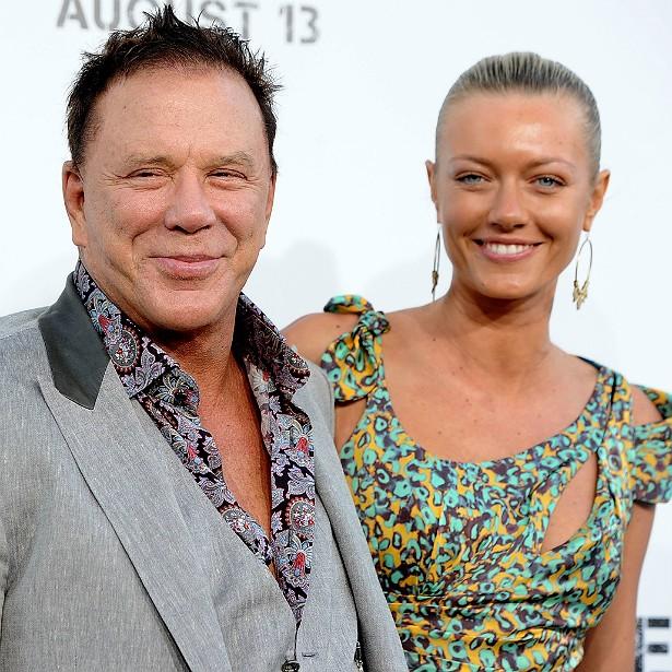 O ator Mickey Rourke, de 62 anos, está desde 2009 com a modelo russa Anastassija Makarenko, 34 anos mais nova do que ele. (Foto: Getty Images)