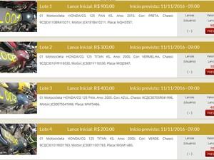 Detran vai leiloar 447 veículos em Campina Grande, nesta quinta-feira (10) (Foto: Reprodução/Leilões PB)
