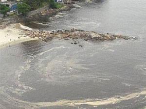 Mancha apareceu entre as praias do Gonzaguinha e Milionários (Foto: G1)