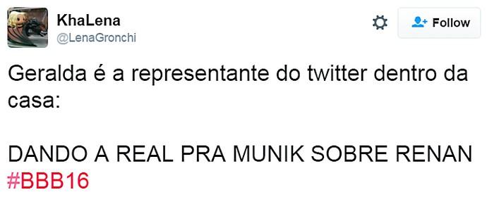 geralda real pra munik  - domingo dia13 twitter (Foto: TV Globo)