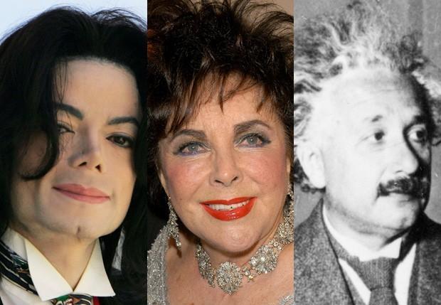 Michael Jackson, Elizabeth Taylor e Albert Einstein (Foto: Getty Images)