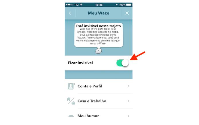 Ativando o modo invisível do Waze no iPhone (Foto: Reprodução/Marvin Costa)