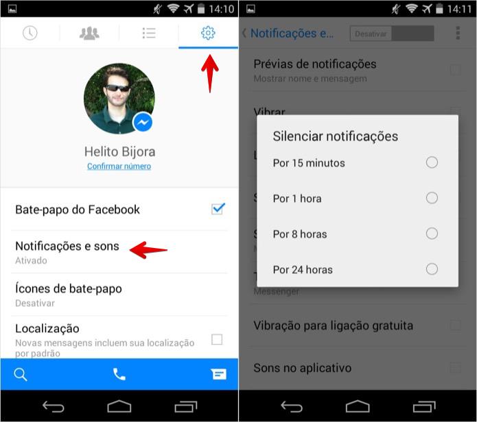 Desativando temporariamente as notificações de chat no Android (Foto: Reprodução/Helito Bijora)