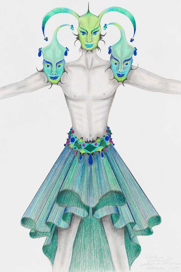 Roberto Capucci's drawing for a ballet costume, September 2009 (Foto: ROBERTO CAPUCCI)
