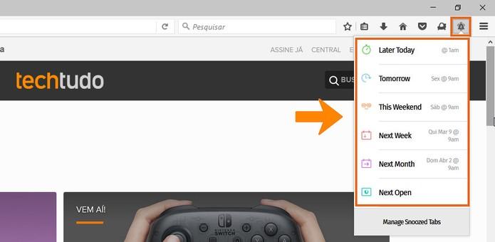 Escolha um dia para reativar a aba ocultada no Firefox (Foto: Reprodução/Barbara Mannara)