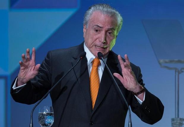 O presidente Michel Temer durante evento Fórum de Investimentos 2017 em SP (Foto: Sebastião Moreira/EFE)