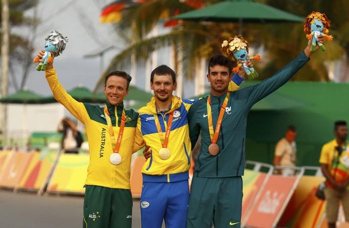 Lauro Cesar Chaman ciclismo estrada bronze brasil rio 2016 pódio (Foto: Reuters)