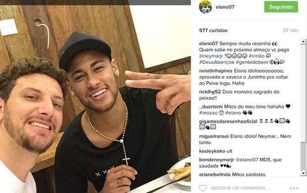 """BLOG: Elano almoça com Neymar e brinca: """"Quem sabe no próximo você paga"""""""