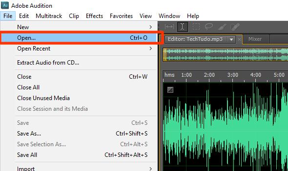O arquivo aberto pode ser visualizado na forma de onda sonora. (Foto: Reprodução/Gabriel Galli)