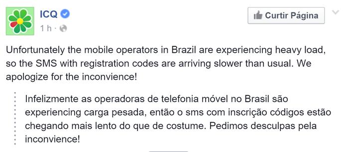 ICQ revela que usuários estão com dificuldade de criar contas por problemas no envio do SMS (Foto: Reprodução/Elson de Souza)